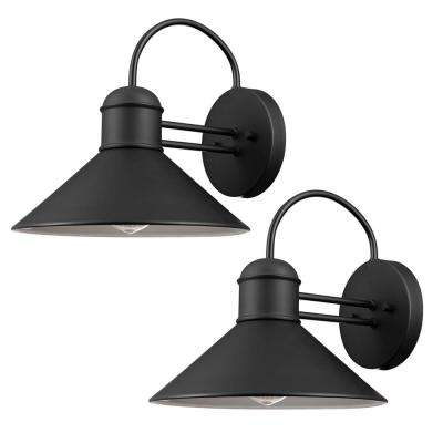 Sebastien 1-Light Black Outdoor Wall Sconce (2-Pack)