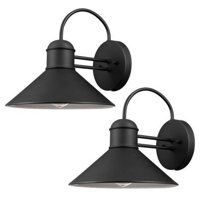 Sebastien 1-Light Black Outdoor Wall Lantern Sconce (2-Pack)