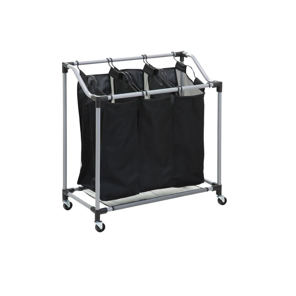 Triple Laundry Sorter With Mesh Bags Steel Black