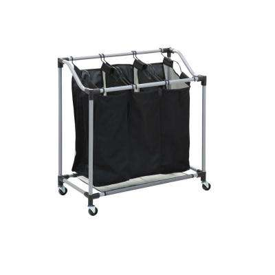 Triple Laundry Sorter with Mesh Bags, Steel/Black