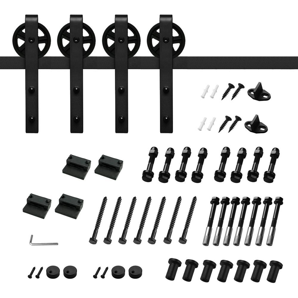 12 ft./144 in. Black Steel Sliding Barn Door Track and Hardware Kit for Double Doors with Floor Guide Bigwheel J Shape)