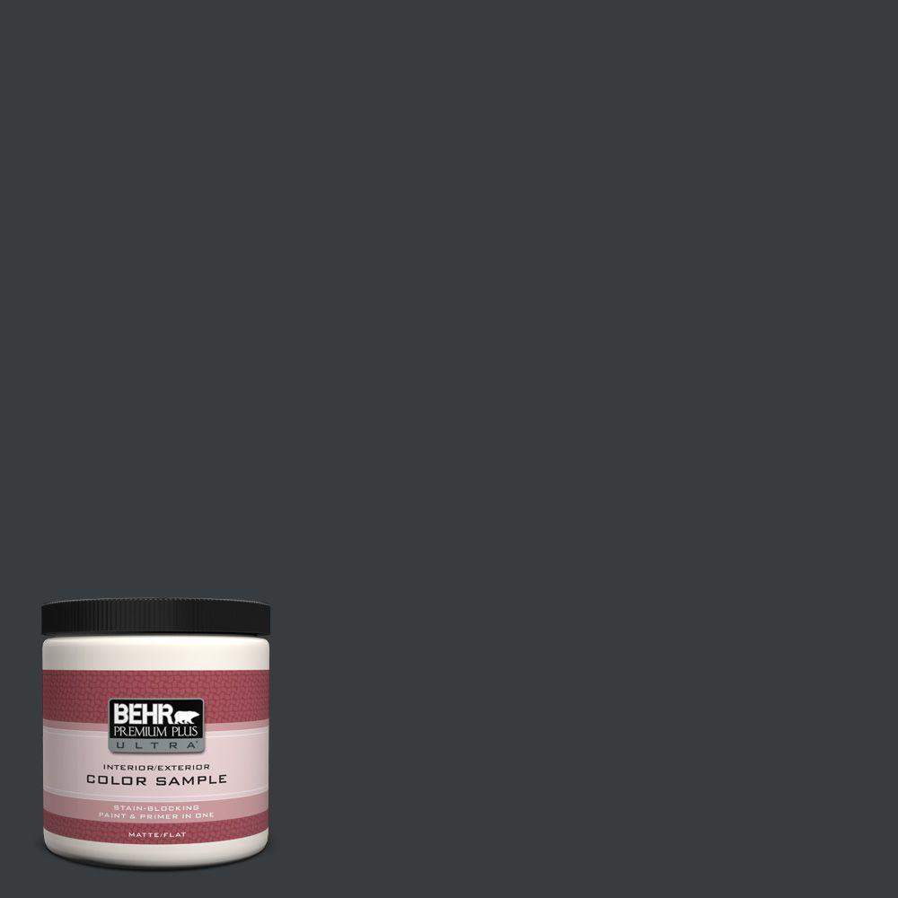 BEHR Premium Plus Ultra 8 oz. #750F-7 Deep Space Flat Interior/Exterior Paint and Primer in One Sample