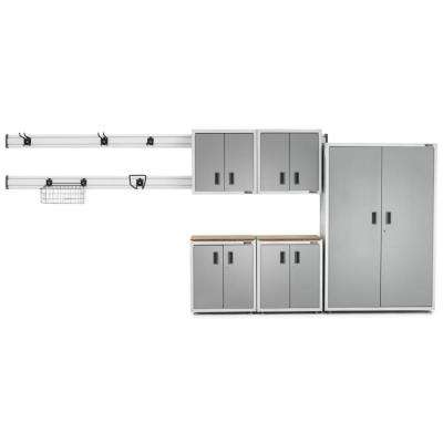 Ready-to-Assemble 72 in. H x 104 in. W x 18 in. D Steel Garage Cabinet Set in White (14-Pieces)