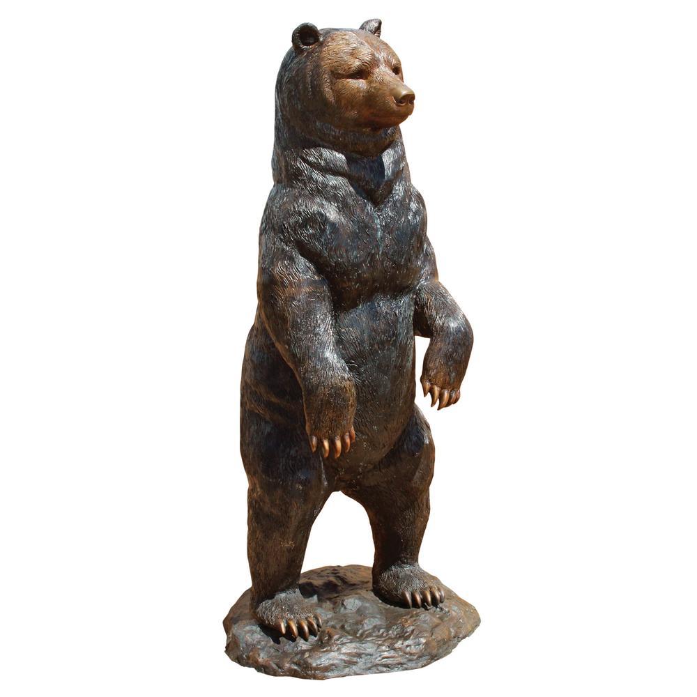 H Standing Black Bear Cast Bronze Garden Statue
