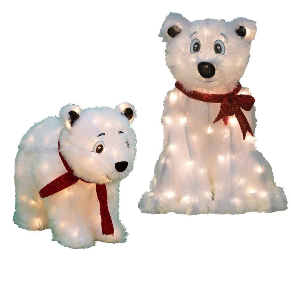 2 ft and 1 5 ft LED Polar Bears Set