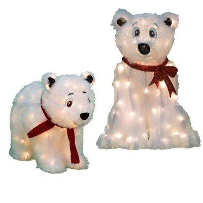 24 in. and 18 in. Pre-Lit LED Polar Bears Set