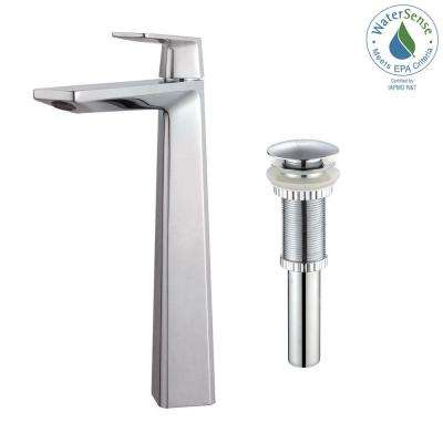 Aplos Single Hole Single-Handle High-Arc Vessel Bathroom Faucet with Matching Pop-Up Drain in Chrome