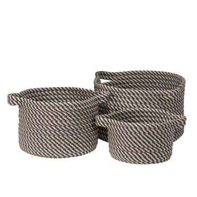 Charlotte Round Denim Polypropylene Indoor/Outdoor Basket (Set of 3)