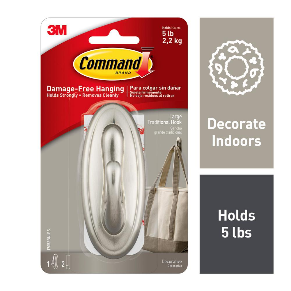Command Large Brushed Nickel Traditional Hook (1-Pack, 3-Piece per-Pack)