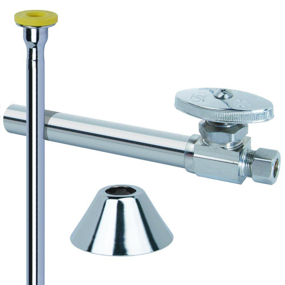 BrassCraft Toilet Kit: 1/2 in. Nom Sweat x 3/8 in. O.D. Comp Multi-Turn Straight Valve with 5 in. Extension, 12 in. Riser, Flange