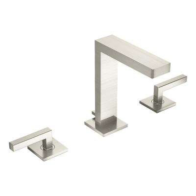 Contemporary 8 in. Widespread 2-Handle Bathroom Faucet with Drain Assembly in Brushed Nickel