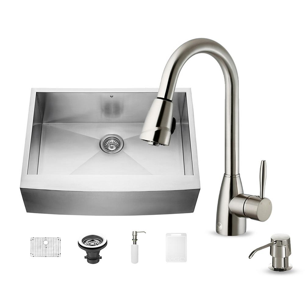 All-in-One Undermount Stainless Steel 30 in. Single Bowl Kitchen Sink in