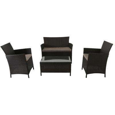 Southport 4-Piece All-Weather Wicker Patio Conversation Set with Tan Cushions