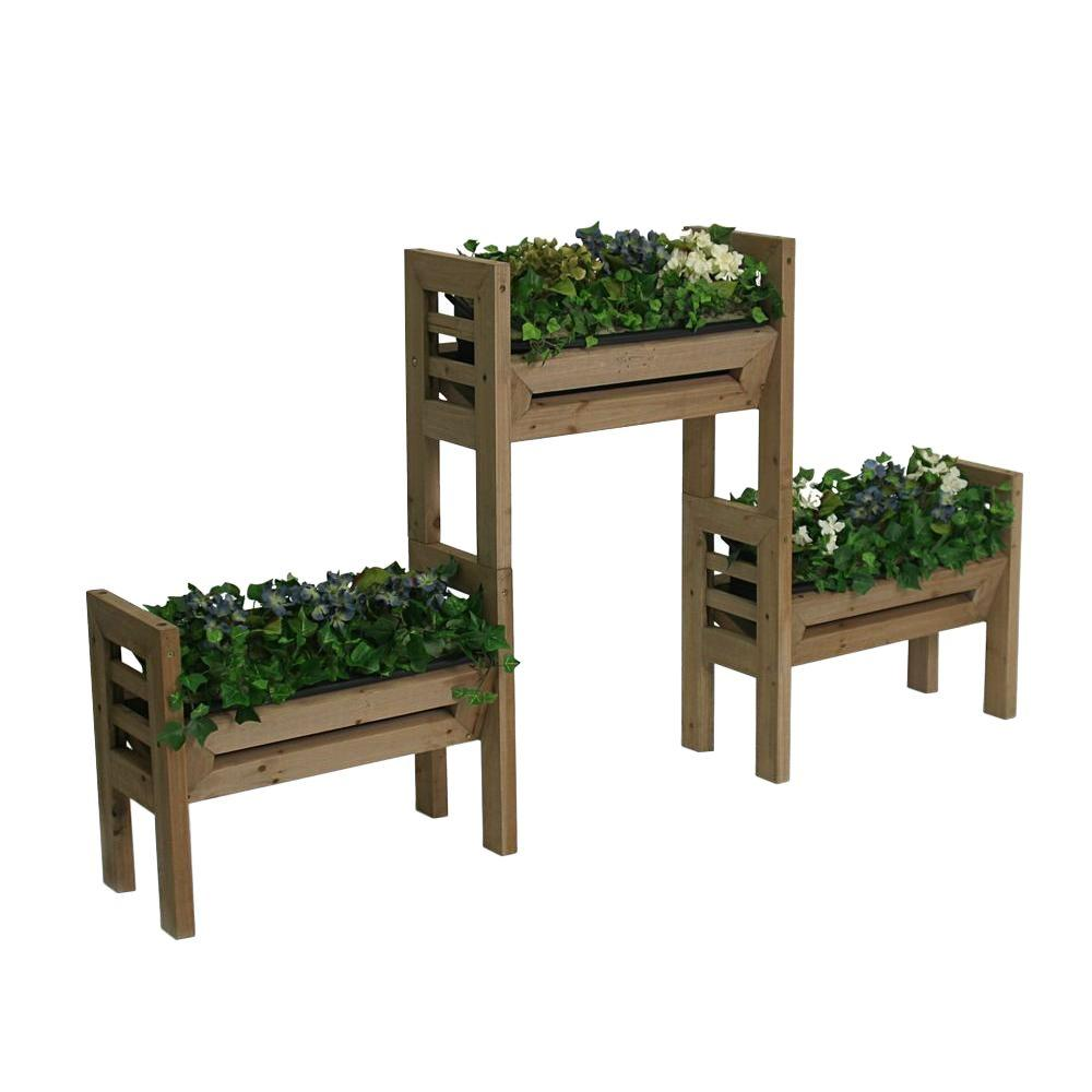 Algreen Stack N Garden 18 in. Plastic Planter Set