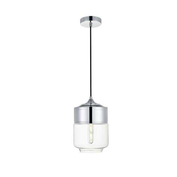 Timeless Home Ada 1-Light Pendant in Chrome with 7.1 in. W x 9.4 in. H Clear Glass Shade