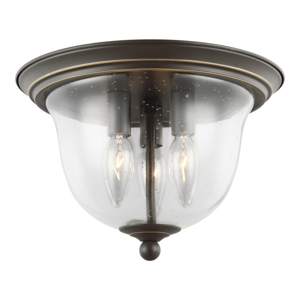 Belton 3-Light Heirloom Bronze Ceiling Flush Mount with Dimmable Candelabra LED Bulb