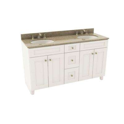 Reading 61 in. Vanity in Linen with Silestone Quartz Vanity Top in Quasar and Oval White Double Basin