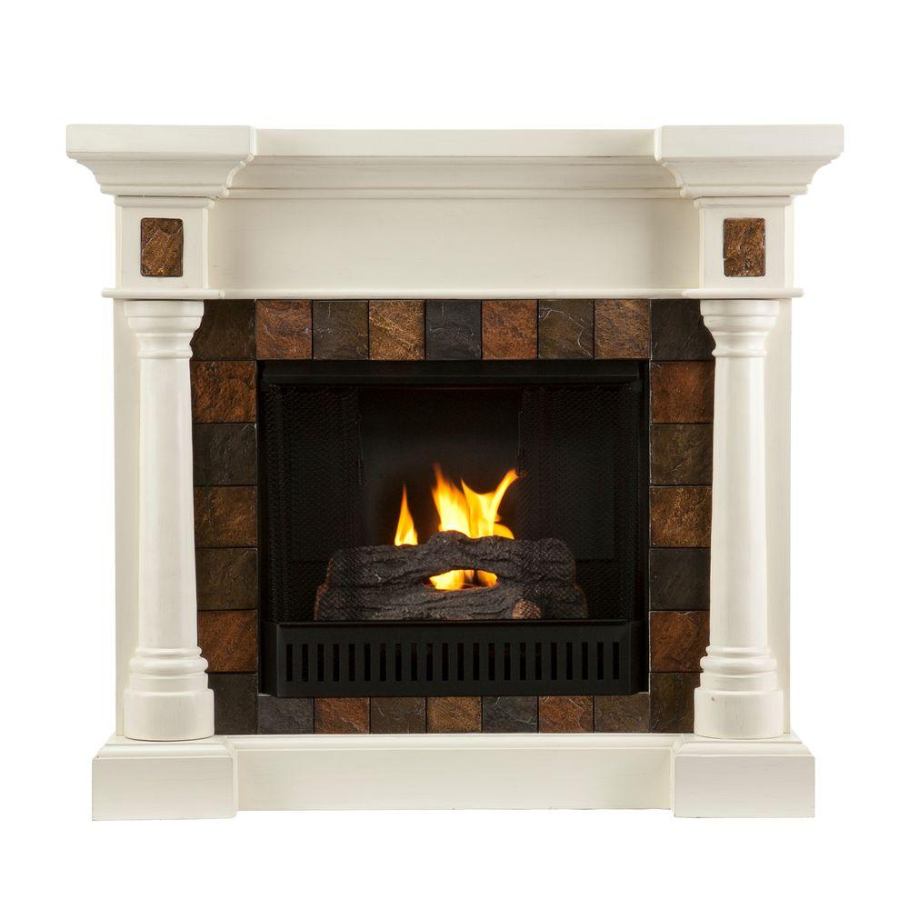 Southern Enterprises Carrington 45 in. Convertible Gel Fuel Fireplace in Ivory with Faux Slate