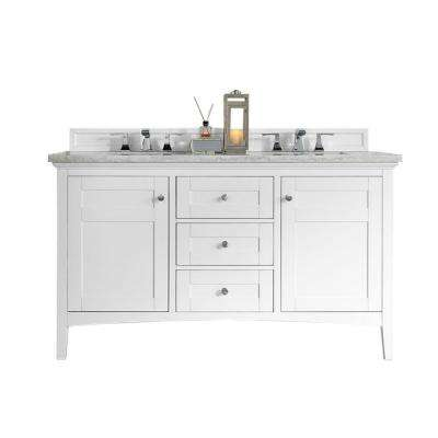 Palisades 60 in. W Double Vanity in Bright White with Marble Vanity Top in Carrara White with White Basin