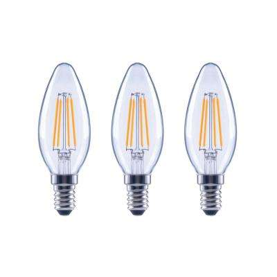 40-Watt Equivalent B11 Candle Dimmable Energy Star Clear Glass Filament Vintage LED Light Bulb Soft White (3-Pack)