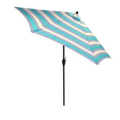 Superbe Aluminum Market Tilt Patio Umbrella In Seaglass Stripe