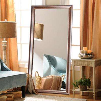 Classic Rectangle Wood Grain Floor Mirror