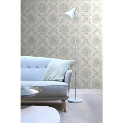 56.4 sq. ft. Tracy Seafoam Medallion Strippable Wallpaper