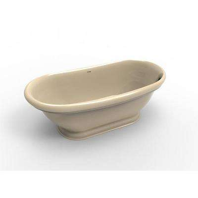 Georgetown 5.8 ft. Solid Surface Flat Bottom Freestanding Air Bath Bathtub in Almond