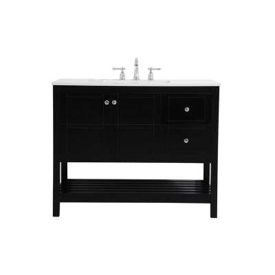 Timeless Home 42 in. W x 22 in. D x 34 in. H Single Bathroom Vanity in Black with White Quartz with White Basin