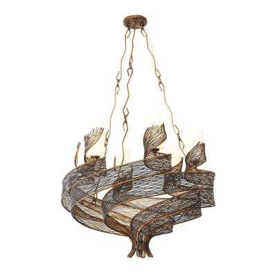 Flow 6-Light Hammered Ore Chandelier with Gloss Opal Glass