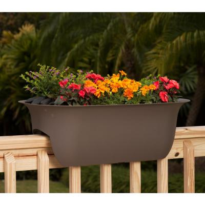24 x 8.75 Chocolate Modica Plastic Deck Rail Planter