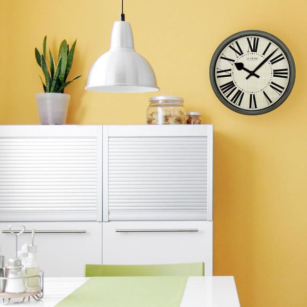 La Crosse Technology 14 in. Round Weathered Pale Green Analog Wall