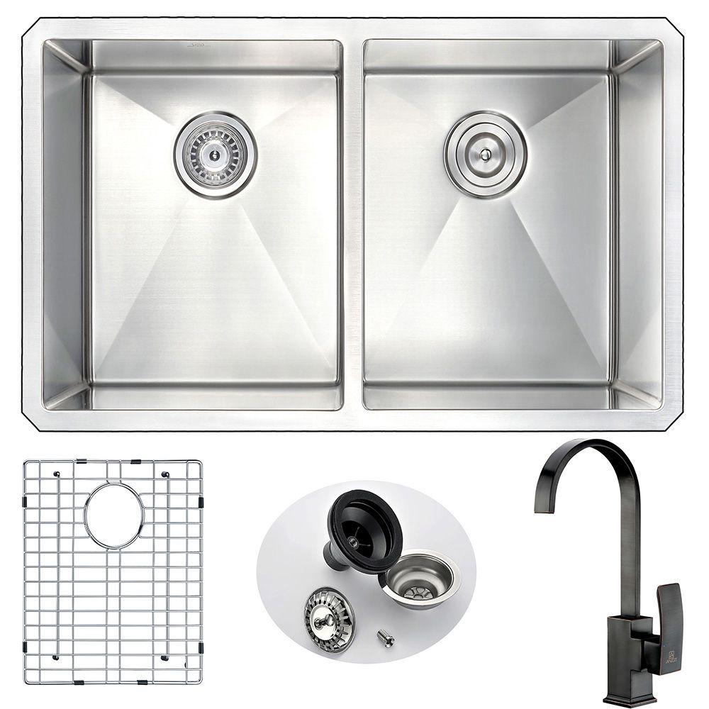 Anzzi Vanguard Undermount Stainless Steel 32 In Double Bowl Kitchen Sink And Faucet Set With