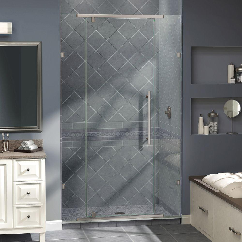 DreamLine Vitreo 58-1/8 in. x 76 in. Semi-Framed Pivot Shower Door in Brushed Nickel