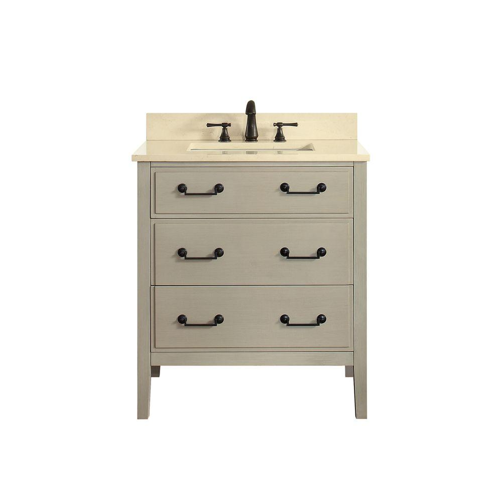 Avanity Delano 31 in. W x 22 in. D x 35 in. H Vanity in Taupe Glaze with Marble Vanity Top in Galala Beige with White Basin