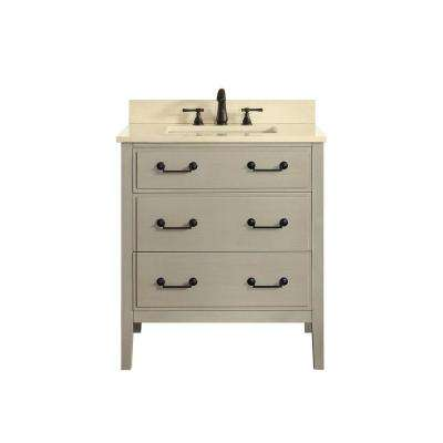 Delano 31 in. W x 22 in. D x 35 in. H Vanity in Taupe Glaze with Marble Vanity Top in Galala Beige with White Basin