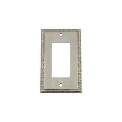 Egg and Dart Switch Plate with Single Rocker in Satin Nickel