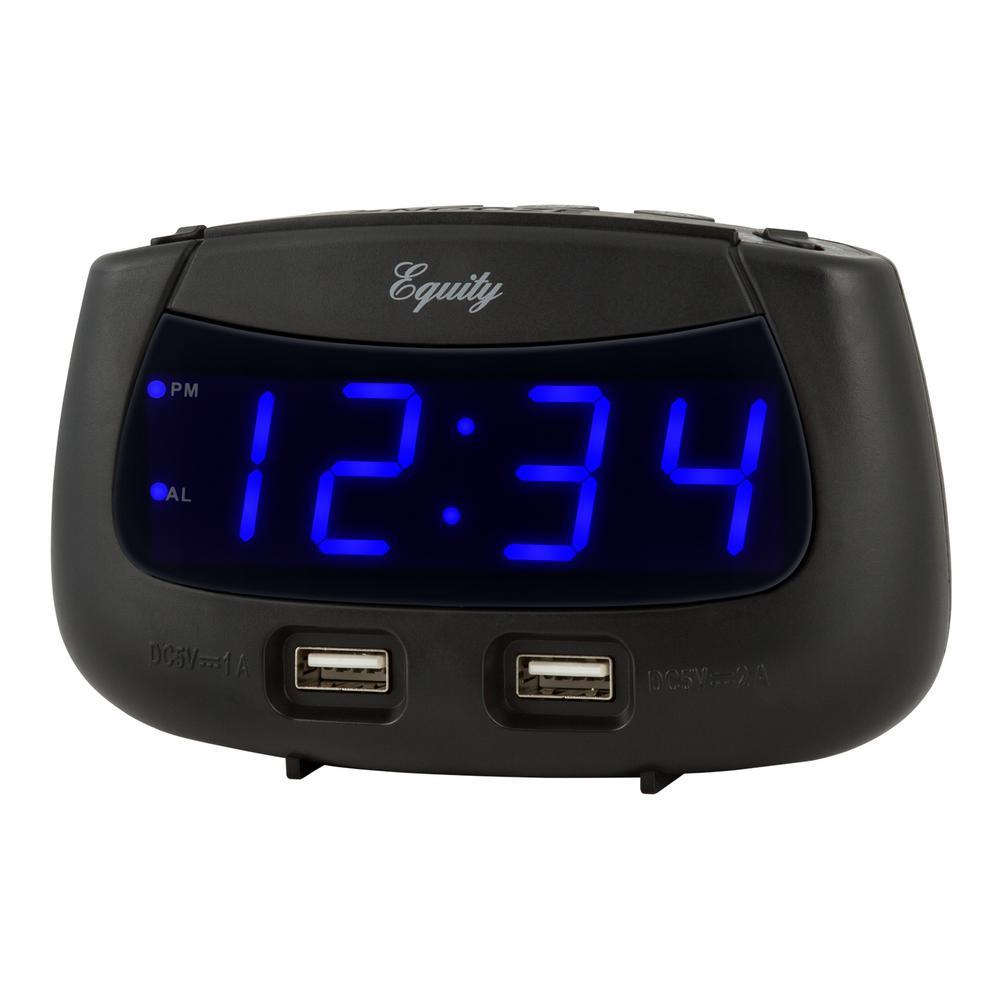0.9 in. Blue LED Dual USB Digital Alarm Clock