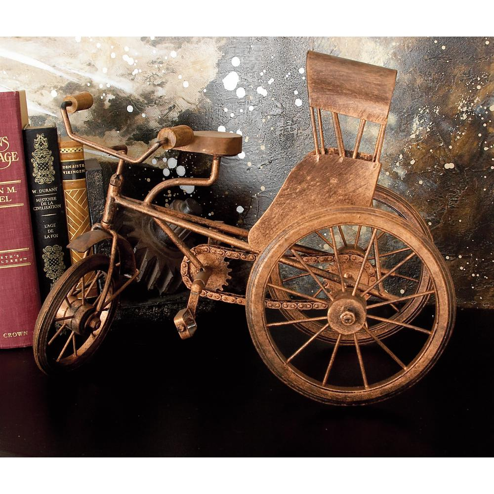 Litton Lane 14 in. x 10 in. Weather Copper Iron Vintage Tricycle Model Decor