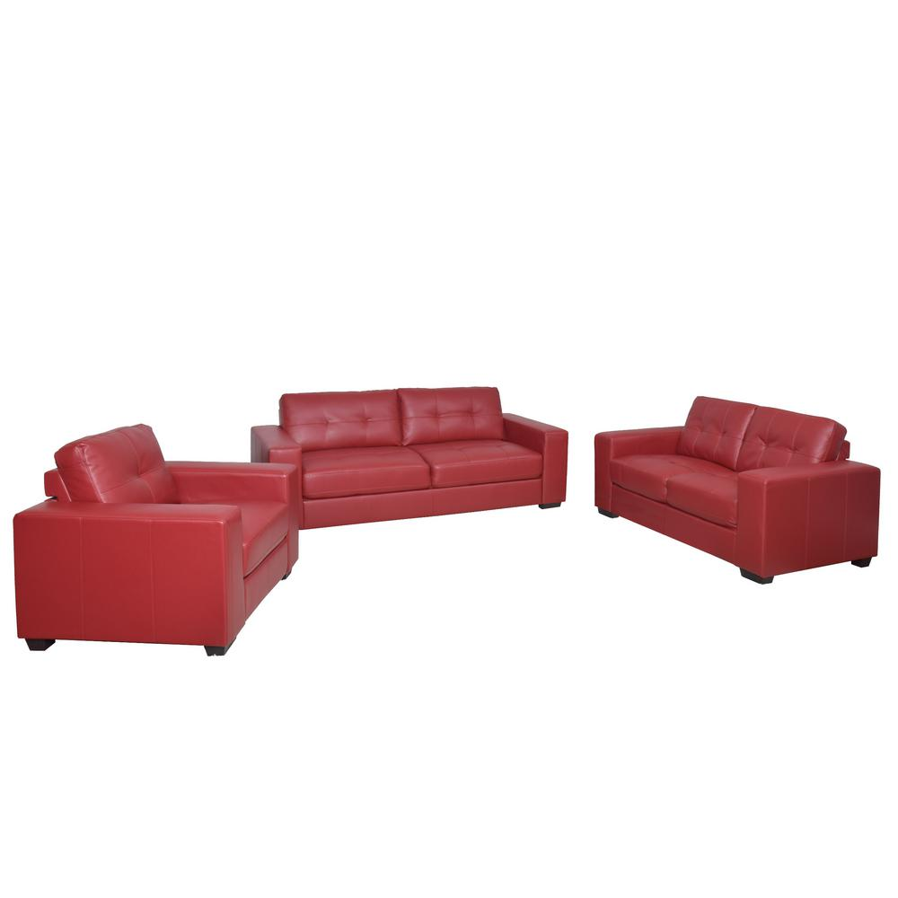 Merveilleux CorLiving Club 3 Piece Tufted Red Bonded Leather Sofa Set