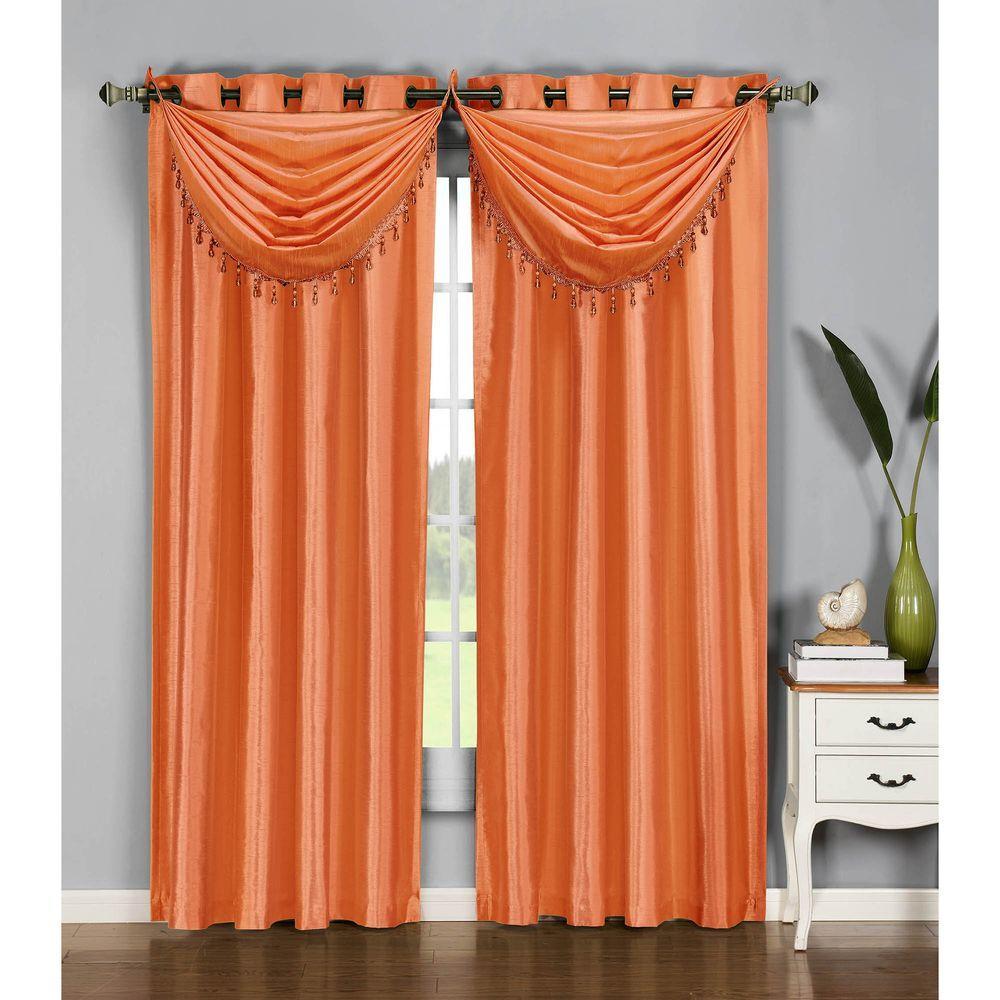 Semi-Opaque Jane Faux Silk 54 in. W x 95 in. L Grommet Extra Wide Curtain Panel in Orange