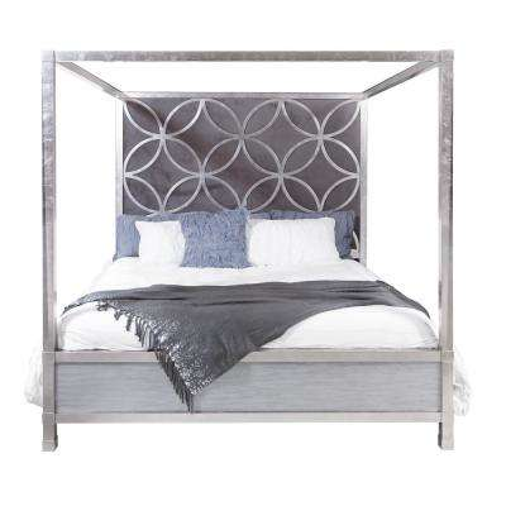 Velvet Quatrefoil King Canopy Bed