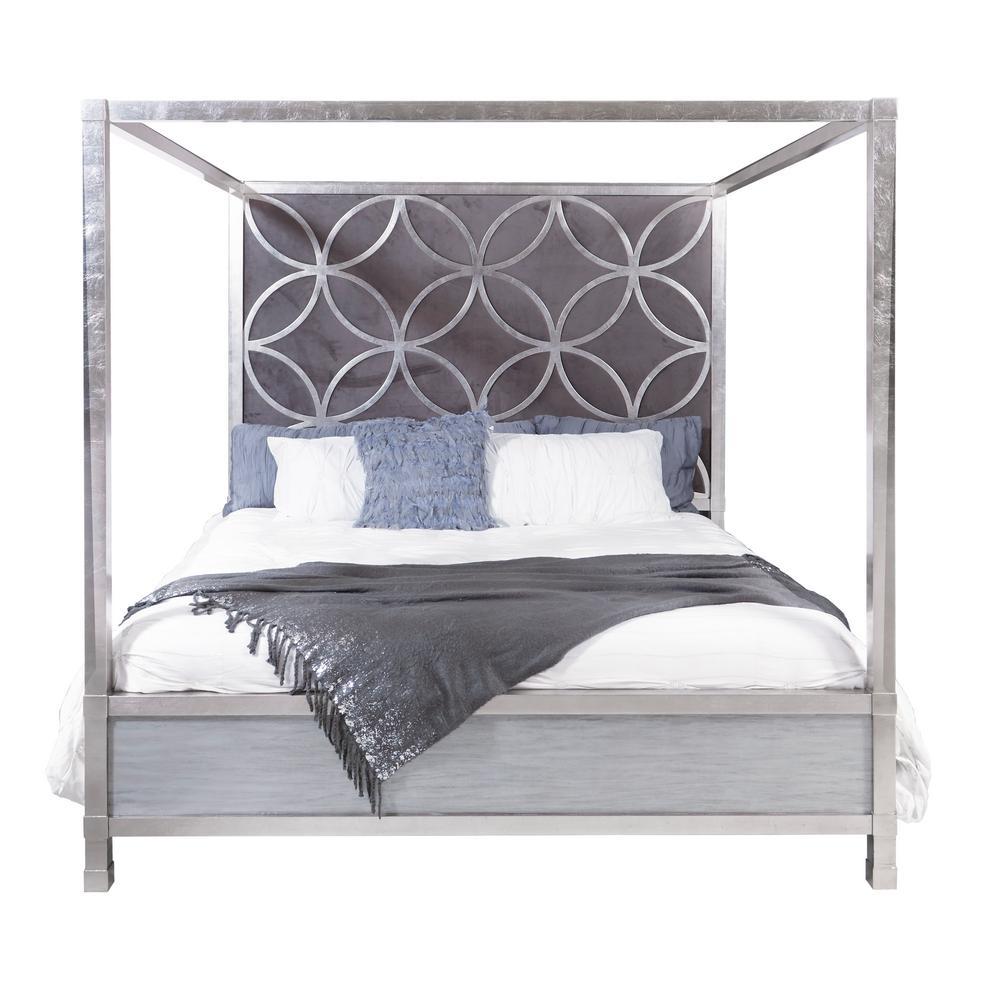 - HomeFare Velvet Quatrefoil Queen Canopy Bed-D199-BR-K3 - The Home