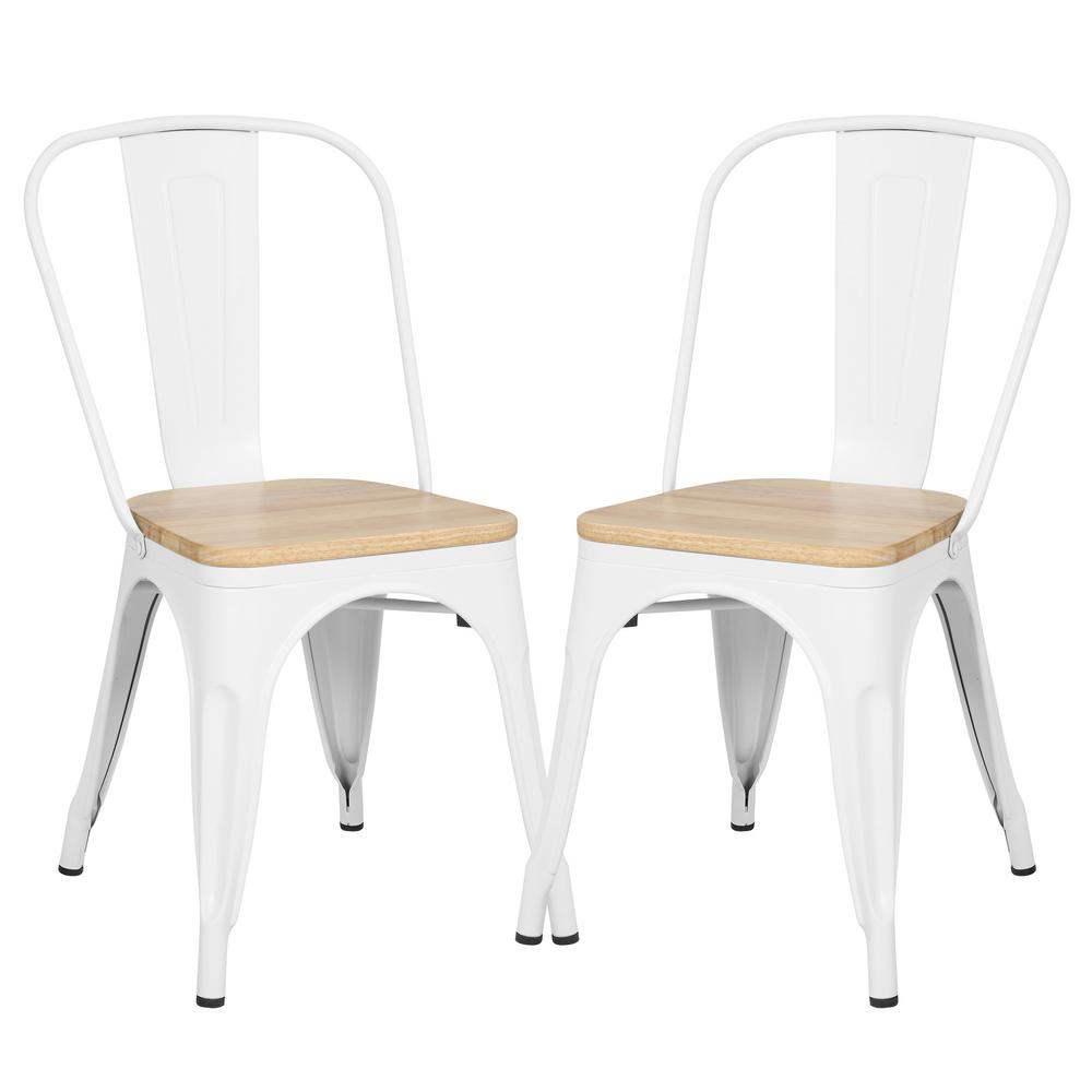 PolyandBark Poly and Bark Trattoria White Side Chair in with Oak Seat (Set of 2), Oak/White