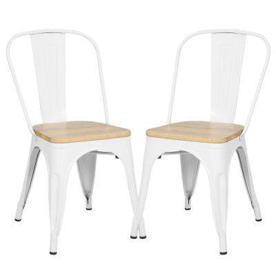 Trattoria White Side Chair in with Oak Seat (Set of 2)