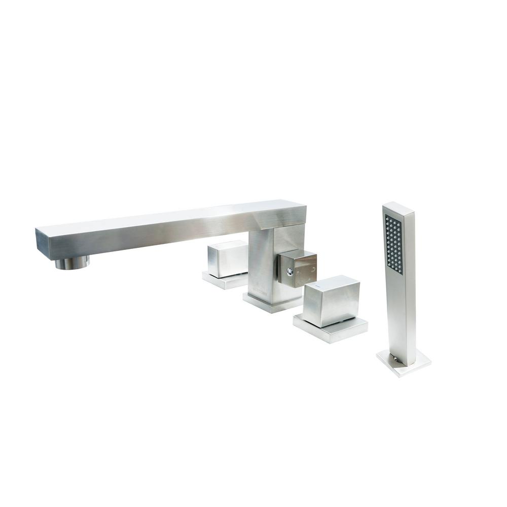 Dyconn Brook 2-Handle Deck Mount Roman Tub Faucet with Matching Hand Shower for Tub and Jacuzzi in Brushed Nickel
