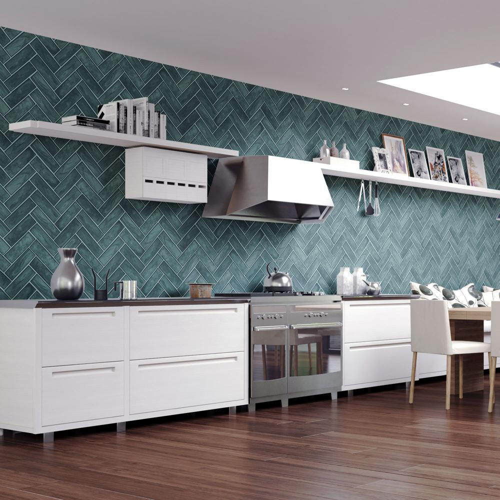 Graham And Brown Lustro Teal Removable Wallpaper Sample