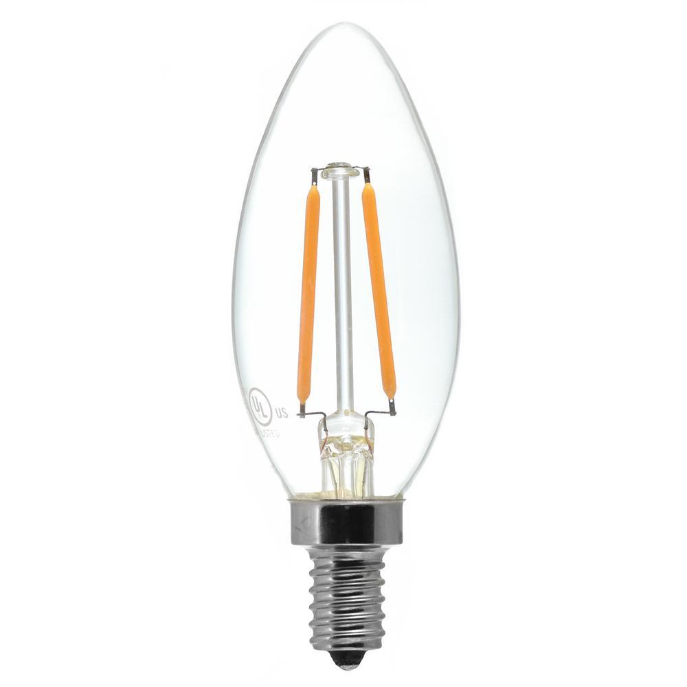 25W Equivalent Candelabra Base (E12) Antique White (2200K) Dimmable Clear LED Blunt Tip C11 Light Bulb