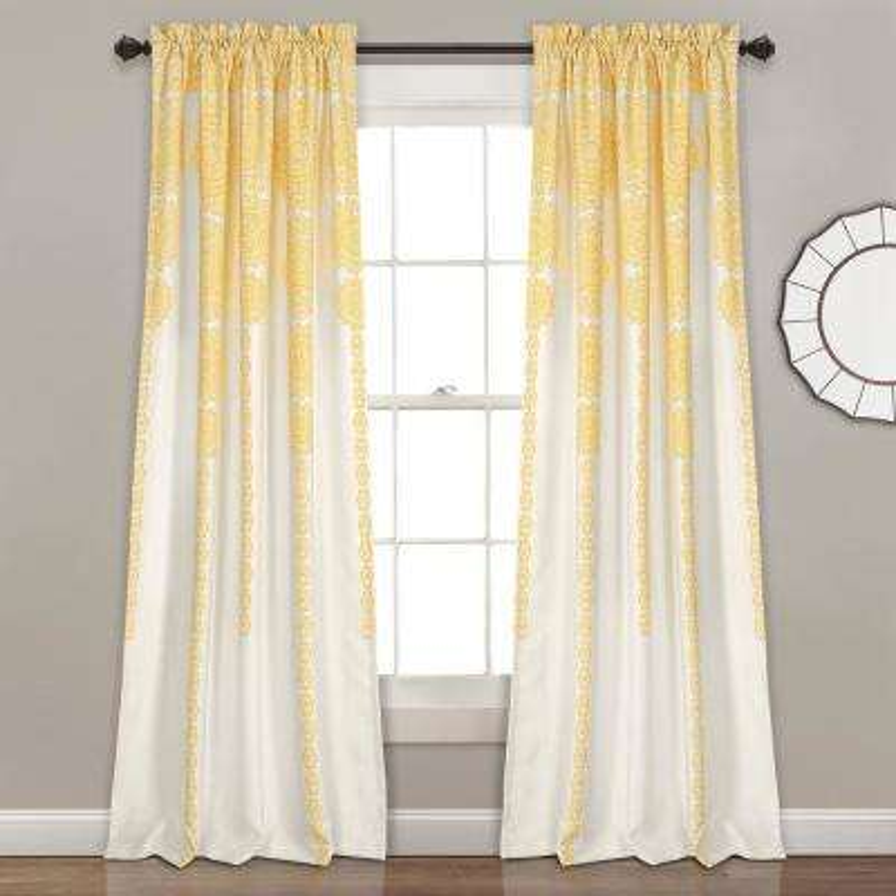 Yellow Stripe Medallion Window Panel - 84 in. x 52 in. (2 - Piece)