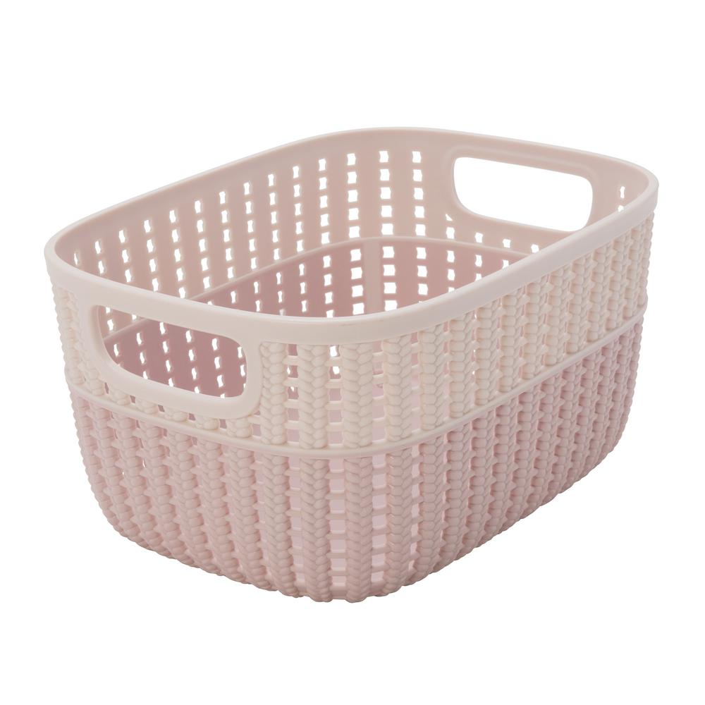 Simplify Sailor Knot 5 in. x 7 in. Small Storage Basket in 2-Tone Blush
